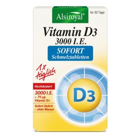 Alsiroyal Vitamin D3 3000 I.E. Sofort Schmelztabletten (30 Stück)
