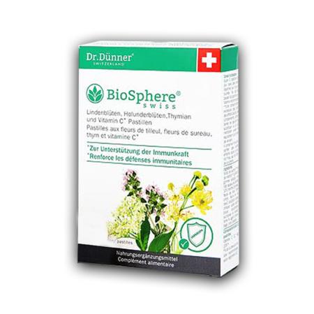 Dr Dünner BioSphere Lindenblüten, Holunderblüten, Thymian und Vitamin C Pastillen